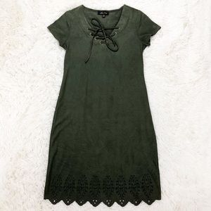 Melissa Paige suede olive green dress size XS
